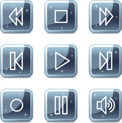 Walkman web icons, square blue mineral buttons series