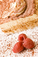 Delicious tiramisu with raspberries on a plate