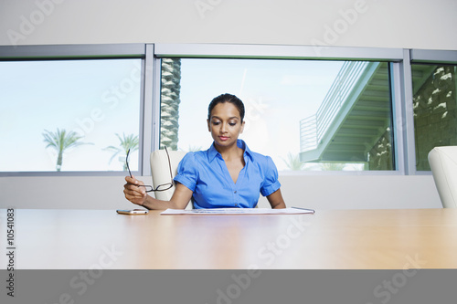 Businesswoman Reading Booklet