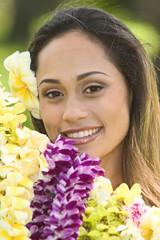 hawaiian girl with flowers