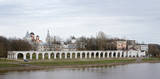 Panorama of embankment opposite Kremlin in Great Novgorod poster