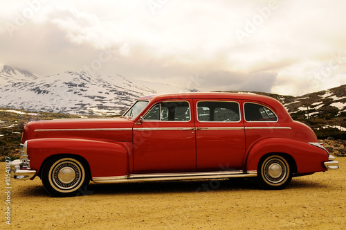Classic car parked in the mountains