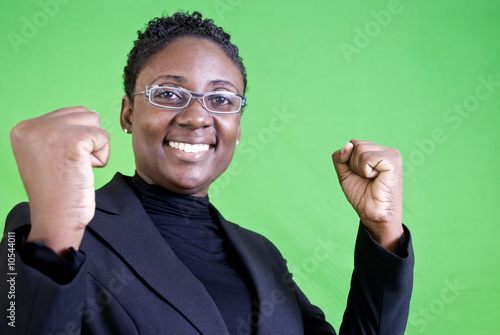 An African American gesturing with enthusiastic approval.