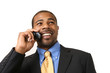 African American businessman talking on mobile phone, smiling