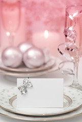 Table setting for Christmas with place card - red tone