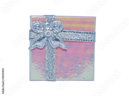 small pink gift box with silver bow isolated on white