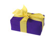 Blue-purple gift box with a bow and ribbon, isolated on  white