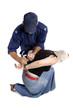 A security officer handcuffs a criminals hands behind back