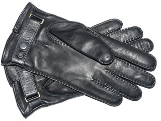 Leather black gloves isolated on a white background