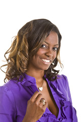 Beautiful Black woman in a purple blouse holding collar