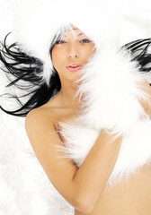 sexy girl over white fur background