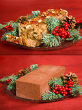 Humorous comparison between Xmas fruitcake and a brick. poster