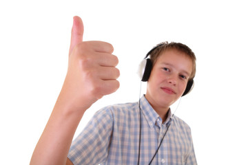 teenager with headphones laughing and showing OK.