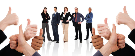 business people with their thumbs up in support