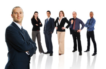 business team in business suit on isolated background