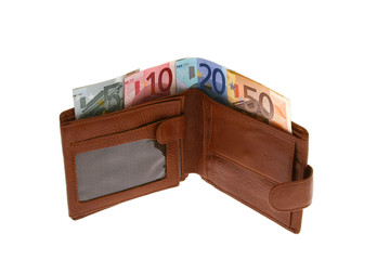 Euro bills in brown leather wallet (isolated on white)