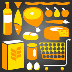 Illustration of assorted basic food supplies from a supermaket