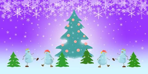 four snowmen dancing on the  snow