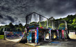HDR Skate ramp covered with Graffiti