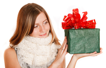 winter girl with green box gift