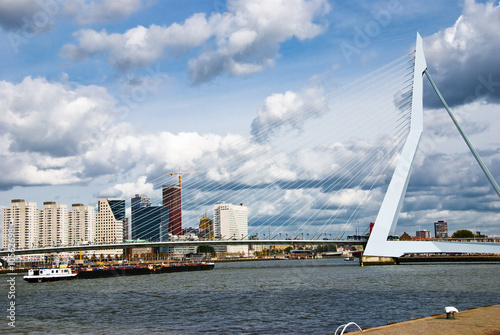 A cargo barge sails under the Erasmusbrug