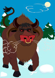 The furious bull on a snow poster
