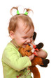 cute little girl with toy