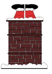 Santa Cartoon (No:2) Stuck On The Roof - Isolated on white