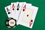 Casino chips and four aces on green felt poster