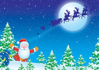 Santa Claus runs after his sledge