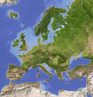 Shaded relief map of Europe, colored for vegetation.