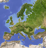 Fototapety Shaded relief map of Europe, colored for vegetation.