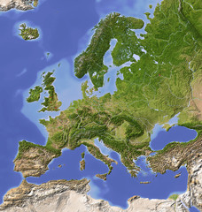 Shaded relief map of Europe, colored for vegetation. © Arid Ocean