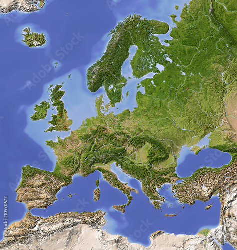 Shaded relief map of Europe, colored for vegetation. - 10570672