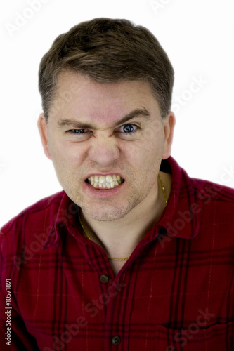 Caucasian Male with Angry Face