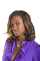 Beautiful Black Woman Serious to Side