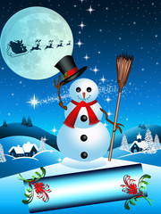 Enchanted snowman with Santa Claus