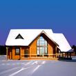 Leinwandbild Motiv Winter landscape with wooden house.