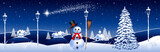 Fototapety Blue winter landscape with snowman and streetlights