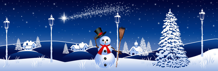 Blue winter landscape with snowman and streetlights