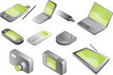 Illustration of various electronic gadgets in isometric format poster