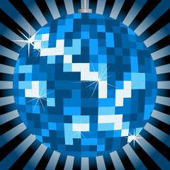 Discokugel im Blaulicht