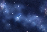 Digital created starfield with cosmic Nebula poster