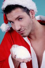 Schnee in der Hand vom Weihnachtsmann