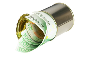 euro bills on a tin can