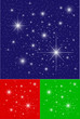 Twinkling Stars on Blue, Green and Red Backgrounds