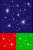 Twinkling Stars on Blue, Green and Red Backgrounds poster