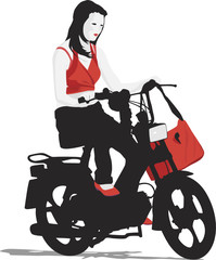 young girl riding moped
