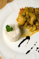 porc au curry et son riz blanc