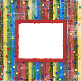 A striped scratch background with confetti and frame